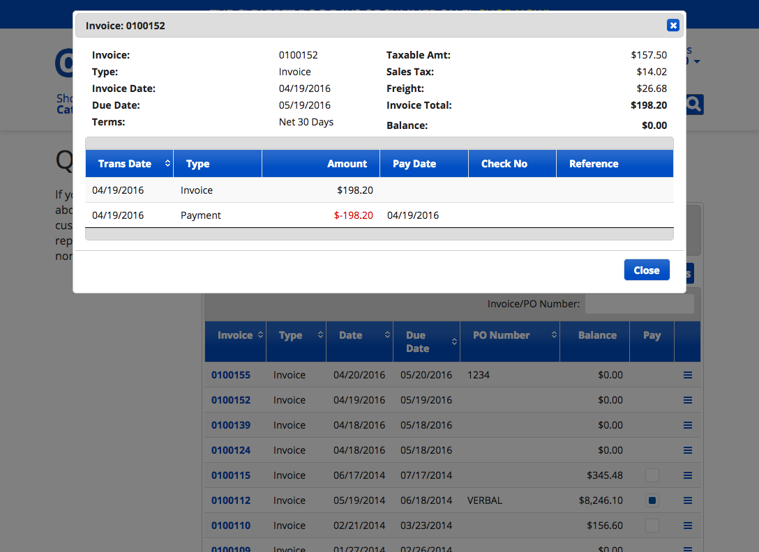 Clearnine invoice detail for customer portal